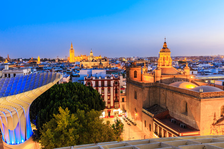 old quarter: Seville, Spain. Old quarter skyline at twilight.