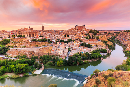 mancha: Toledo, Spain. Panoramic view of the old city and its Alcazar(Royal Palace).