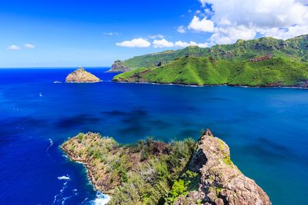 barrier island: Marquesas Islands. Bay of Taiohae on the island of Nuku Hiva.