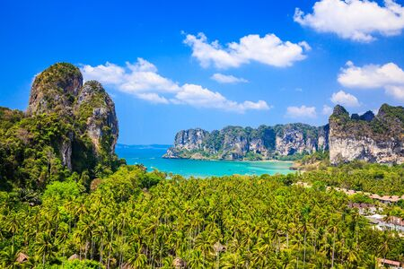 aonang: Thailand, Krabi. View from the cliff on Railay beach, Ao Nang.