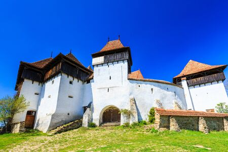 Viscri, Brasov. Fortified church in Transylvania, Romania. Stock Photo
