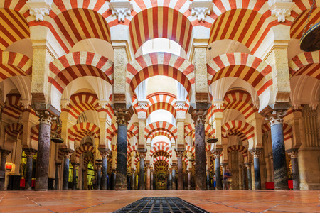 CORDOBA, SPAIN - September 29, 2016: Interior view of La Mezquita Cathedral in Cordoba, Spain. Cathedral built inside of the former Great Mosque.