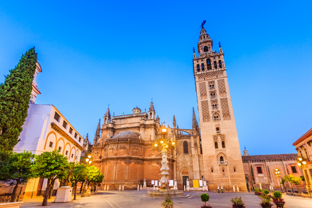 church steeple: Seville, Spain. Cathedral of Saint Mary of the See.