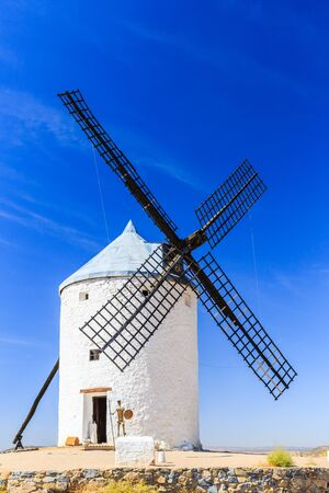 don: Consuegra, Spain. Windmills of Don Quixote in Toledo province. Stock Photo