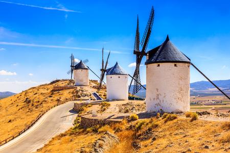 Consuegra, Spain. Windmills of Don Quixote in Toledo province. Banco de Imagens