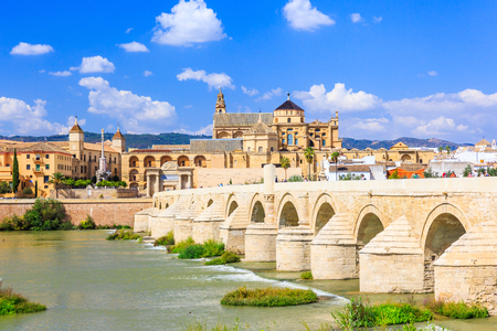 Cordoba, Spain. Roman Bridge and Mosque-Cathedral on the Guadalquivir River.