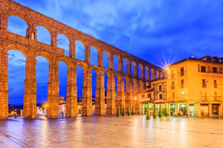 Segovia, Spain. Plaza del Azoguejo and the ancient Roman aqueduct.