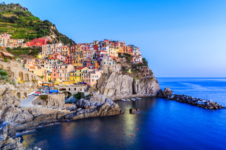 Cinque Terre. Manarola village at twilight, Liguria Italy. Stock Photo