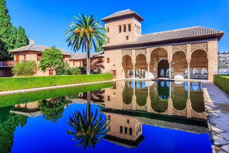 Alhambra, Granada, Spain. The Nasrid Palaces (Palacios Nazar�­es) in the Alhambra fortress. Editorial