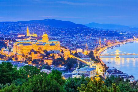 obuda: Budapest, Hungary. Royal Palace of Buda and Matthias church. Stock Photo
