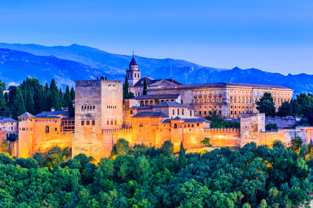 Alhambra of Granada, Spain. Alhambra fortress at twilight.