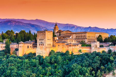 Alhambra of Granada, Spain. Alhambra fortress at sunset.