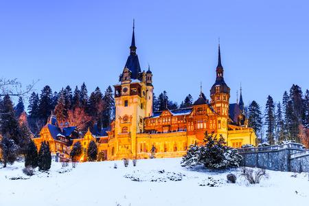 the royal county: Peles Castle, Romania. Most famous royal castle of Romania in Sinaia. Prahova county. Stock Photo