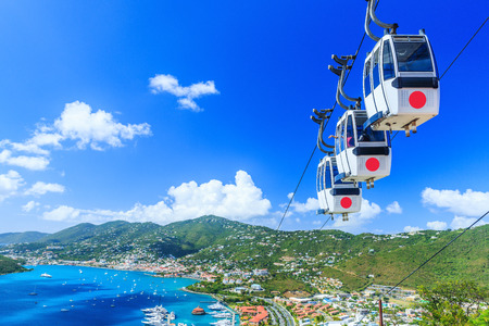 Caribbean, St. Thomas, USVI. Cable car at Heavensight in Charlotte Amelie. Stock Photo
