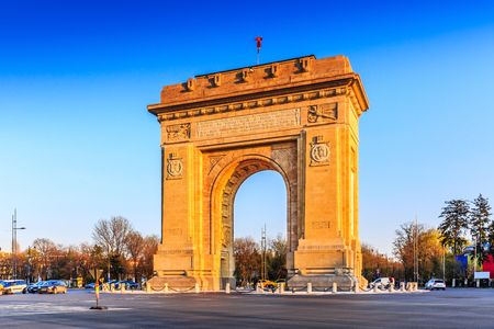 Bucharest, Romania. Arcul de Triumf ( Arch of Triumph ) is a triumphal arch located in the northern part of Bucharest, on the Kiseleff Road.