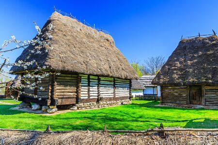 Bucharest, Romania. Old traditional house in the village museum.