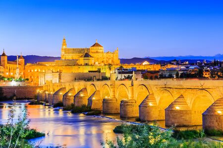 popular: Cordoba, Spain. The Roman Bridge and Mosque (Cathedral) on the Guadalquivir River.