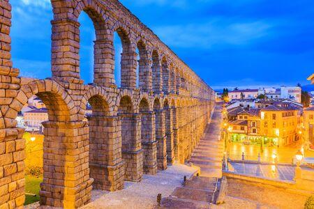 Segovia, Spain. View at Plaza del Azoguejo and the ancient Roman aqueduct.