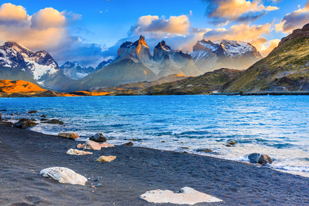 Torres Del Paine National Park, Chile. Sunset at the Laguna Pehoe.