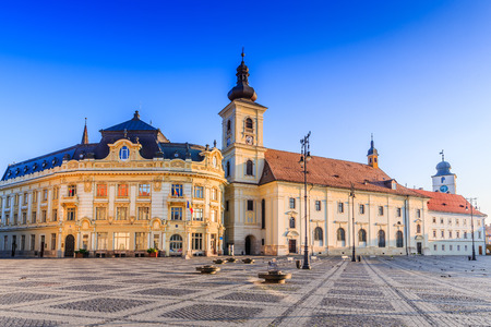 Sibiu, Romania. City Hall and Brukenthal palace in Transylvania.