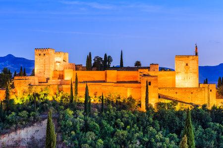 Alhambra of Granada, Spain. Alcazaba fortress at twilight.