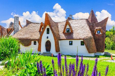 Sibiu, Romania  Fairytale castle of Porumbacu village. Stock Photo - 80587532