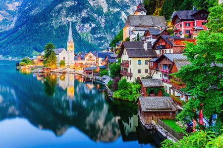 Hallstatt, Austria. Mountain village in the Austrian Alps at twilight.