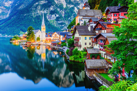 Hallstatt, Austria. Mountain village in the Austrian Alps at twilight.