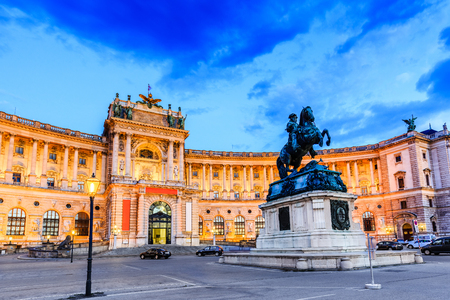 Vienna, Austria. Hofburg Imperial Palace at twilight.