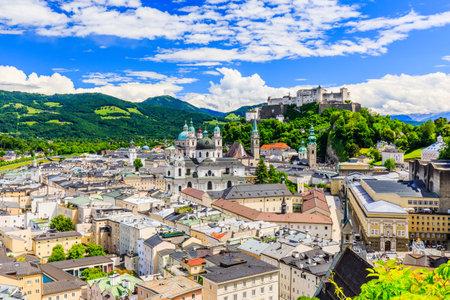 wolfgang: Salzburg, Austria. Old town with Festung Hohensalzburg fortress and Salzburger Dom.