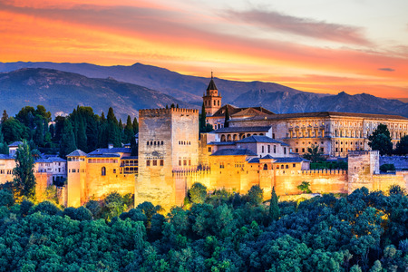 Alhambra of Granada, Spain. Alhambra fortress at sunset. Stock fotó - 82384921