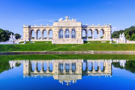 schoenbrunn: Vienna, Austria - 28 June, 2017:  The Gloriette pavilion in the Schonbrunn Palace Garden Editorial