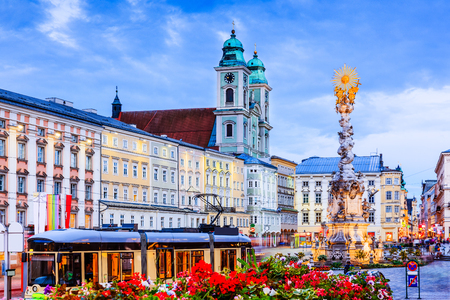 baroque: Linz, Austria. Holy Trinity column on the Main Square (Hauptplatz).