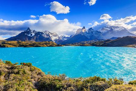 Torres Del Paine National Park, Chile. Pehoe Lake. 版權商用圖片