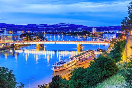 Linz, Austria. Nibelungen bridge over the Danube river.