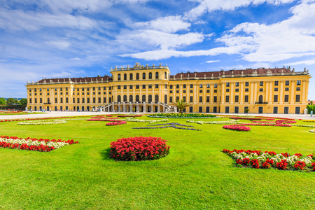 schoenbrunn: Vienna, Austria - 28 June, 2017: Schonbrunn Palace with gardens. The former imperial summer residence is a UNESCO World Heritage site.