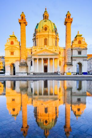 Vienna, Austria. St. Charless Church (Karlskirche) at sunset. Stock Photo