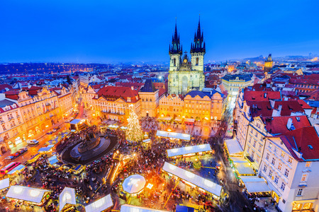 Prague, Czech Repubilc. Christmas market at Old Town Square.