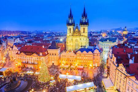 Prague, Czech Repubilc. Christmas market at Old Town Square.