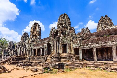 Angkor, Cambodia. The inner gallery of the Bayon temple. Stock Photo