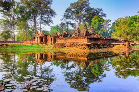 Angkor, Cambodia. Banteay Srei (Citadel of the Women) temple. Stock Photo