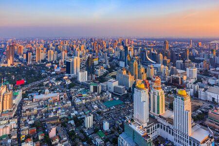 Bangkok, Thailand. The city skyline at sunset.