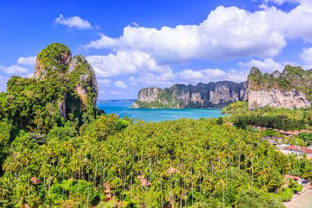 Ao Nang. Krabi province, Thailand. View from the cliff. Stock Photo
