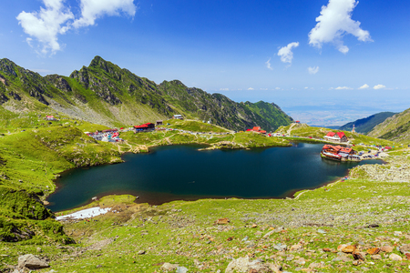 Romania. Balea Lake and Fagaras mountains in the summer.
