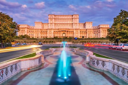 Bucharest, Romania. The Palace of the Parliament at sunrise.
