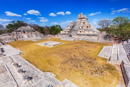 Campeche, Mexico. Edzna Mayan City. The Great Plaza (Gran Acropolis) of Edzna.