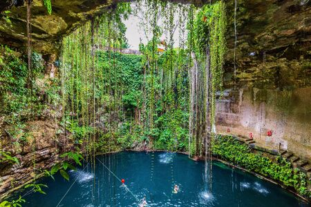Chichen Itza, Mexico. Cenote Ik Kil, natural well. Yucatan Peninsula. Stock fotó - 132458735