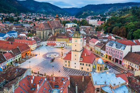 Brasov, Romania. Aerial view of the old town.