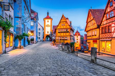 Rothenburg, Germany. Medieval town of Rothenburg ob der Tauber at night. Sajtókép