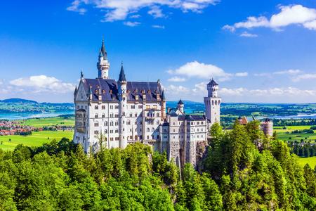 Neuschwanstein Castle (Schloss Neuschwanstein) in Fussen, Germany. 写真素材 - 132250876